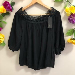 Dynamite Cold Shoulder Boho Blouse / Top - Black